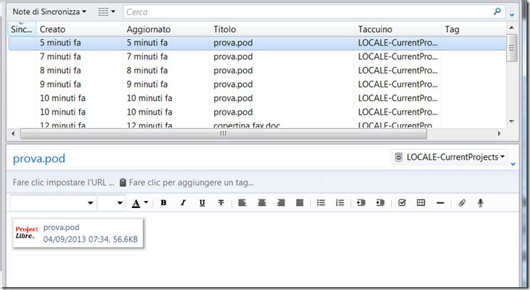 Versioni diverse di piani di progetto ProjectLibre con Evernote