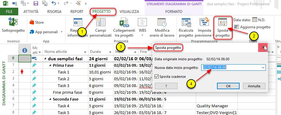 SPostare la data di inizio progetto con Microsoft Project